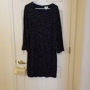 Grey and Black Cheetah Print Shift Dress